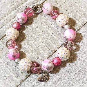 Pink and White Hello Kitty Charm Bracelet